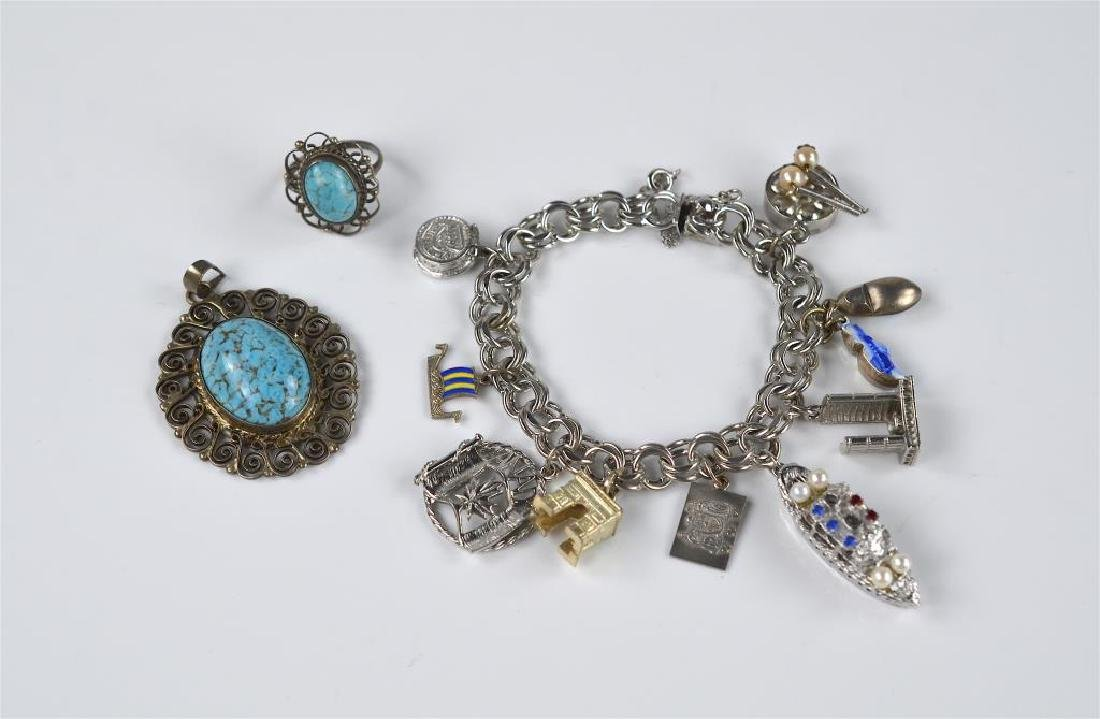 Silver charm bracelet and Mexican silver jewellery