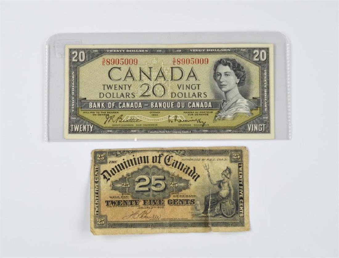 Two Canadian banknotes