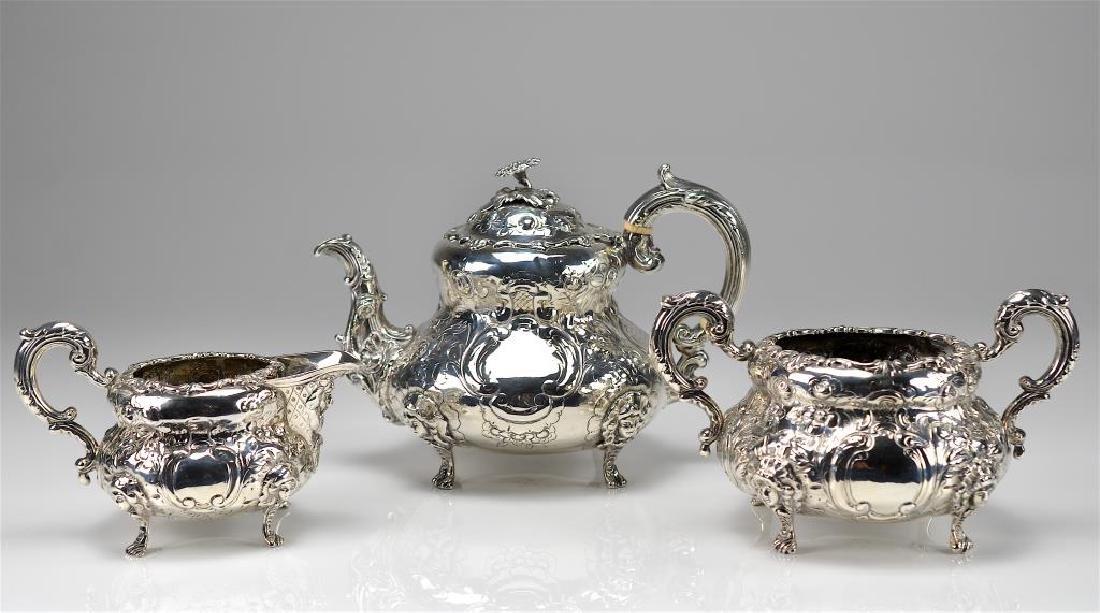 Three piece Victorian Irish silver tea set