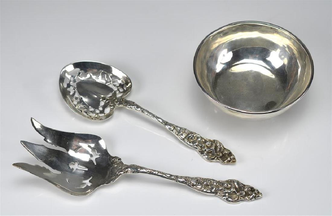 Mexican silver bowl and two serving pieces