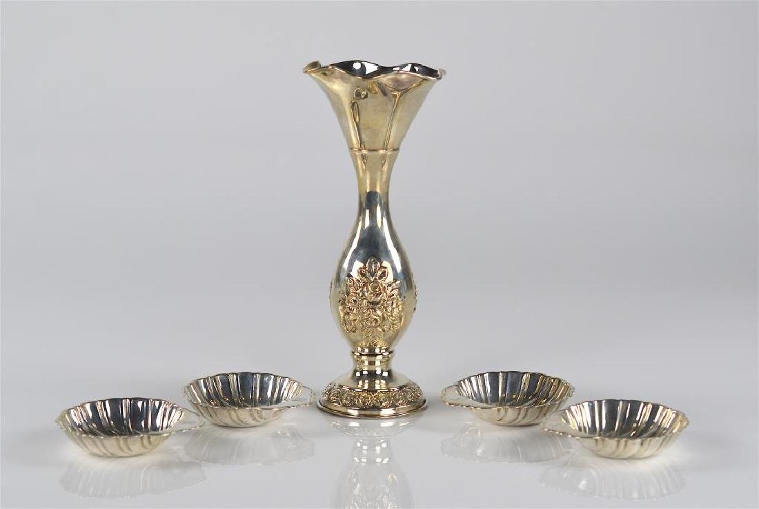 Israeli silver vase with four Birks nut dishes