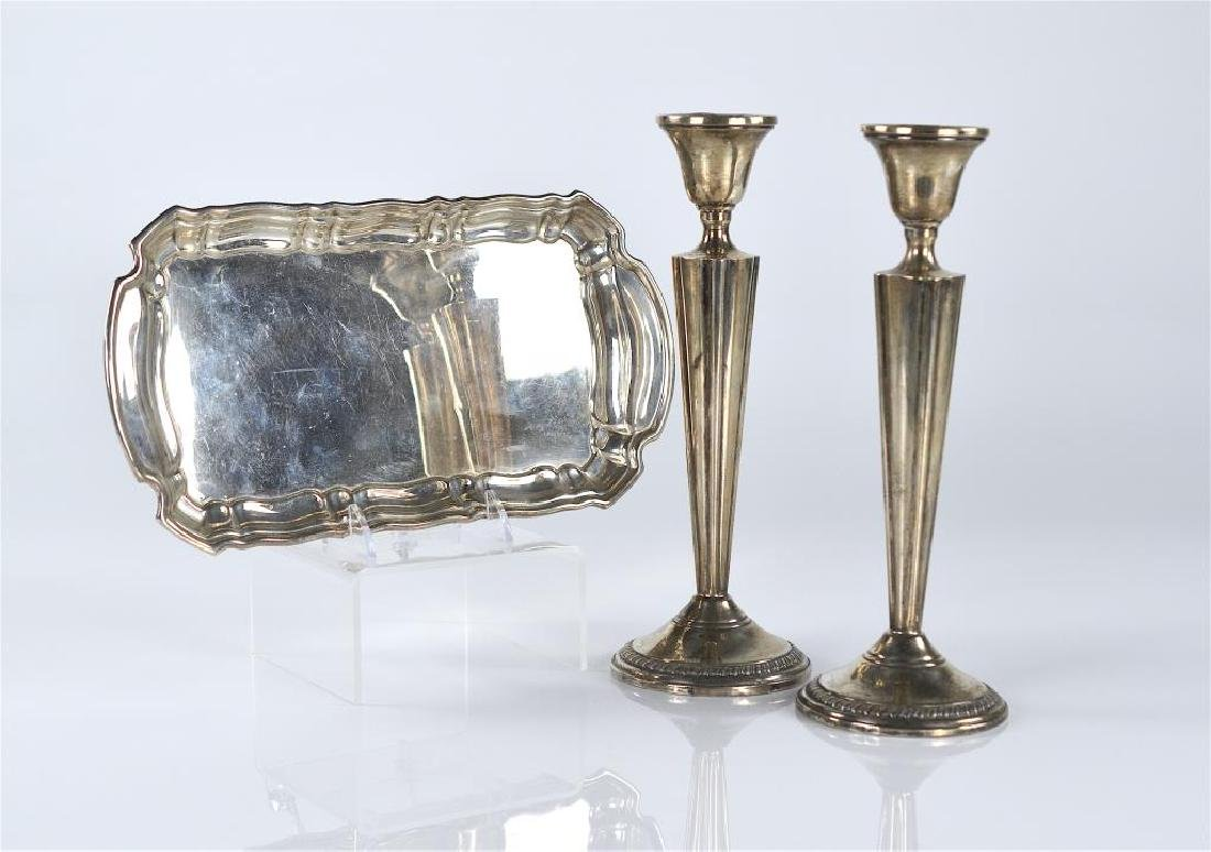 Pair of silver candlesticks and Birks tray