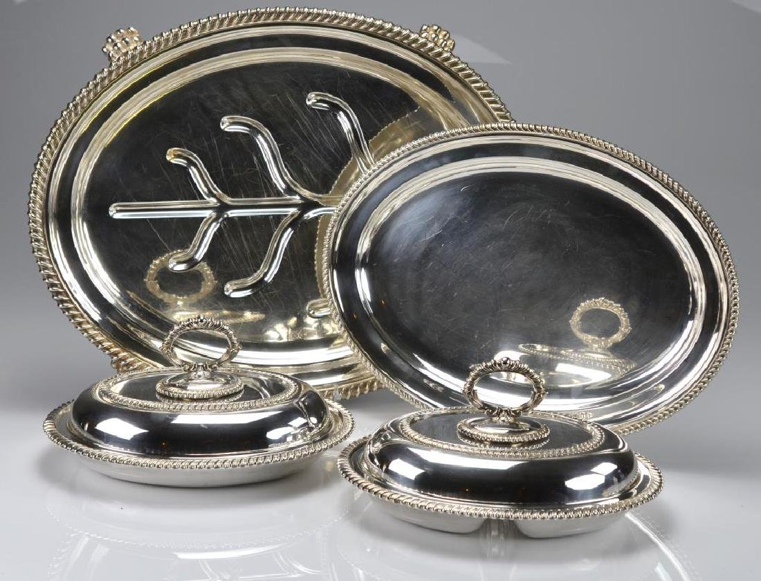 Two silver plate entree dishes & two serving trays