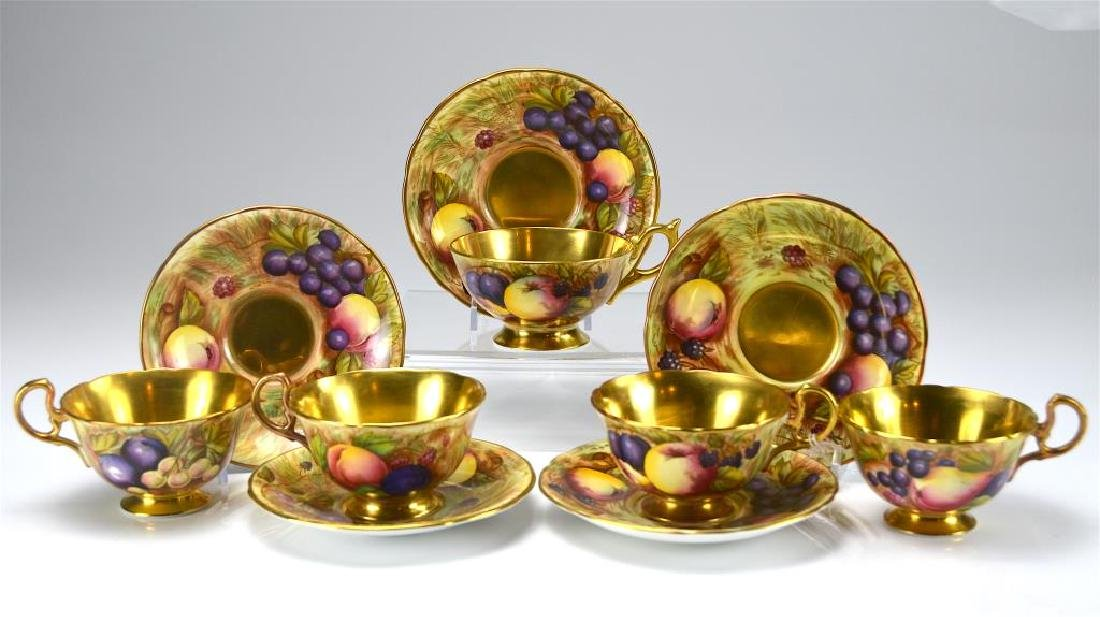 Five English Aynsley C746 cups and saucers