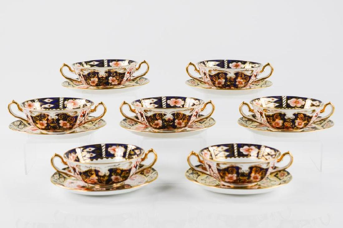 Royal Crown Derby cream soup bowls & saucers