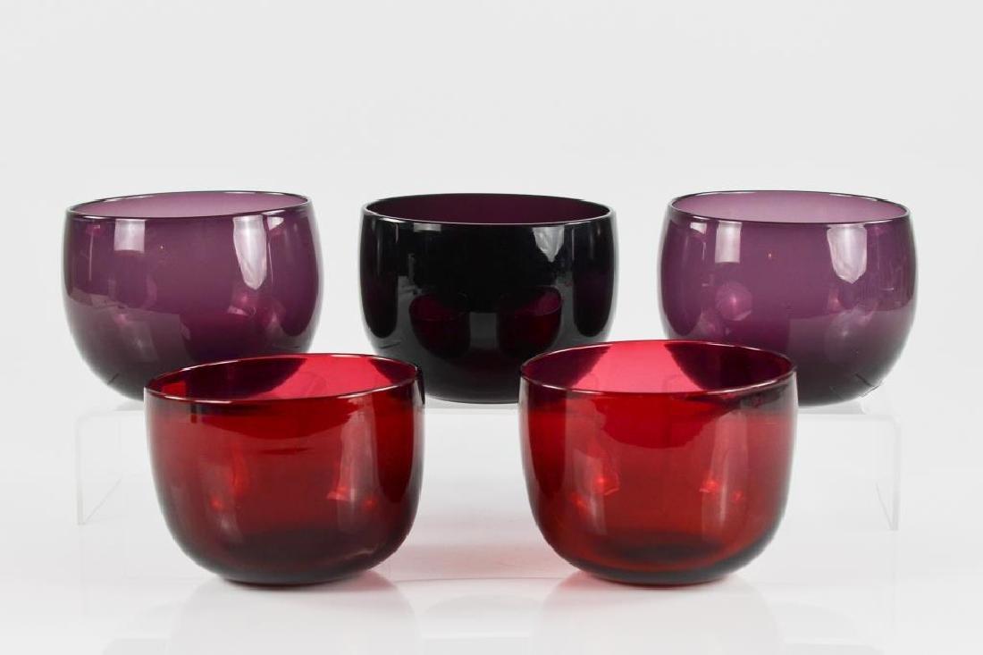 Five Georgian glass finger bowls