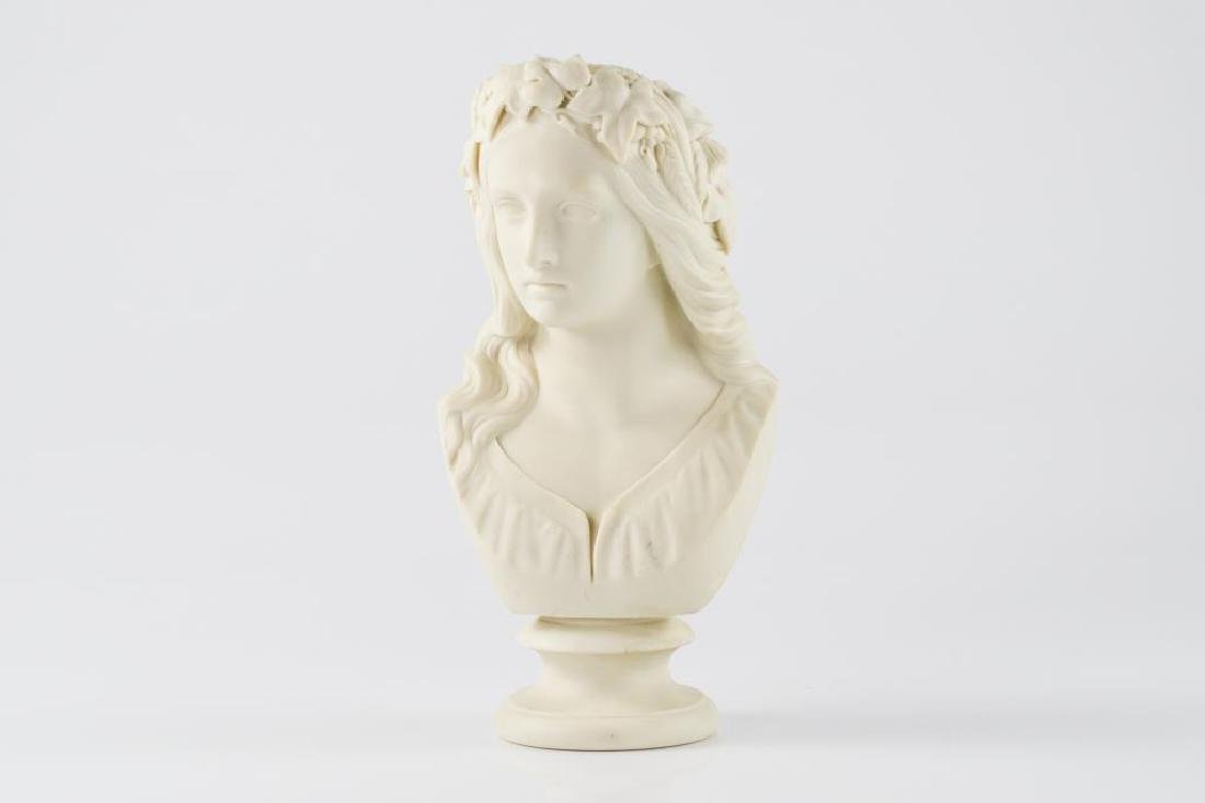 19th C Copeland parian bust of Ophelia