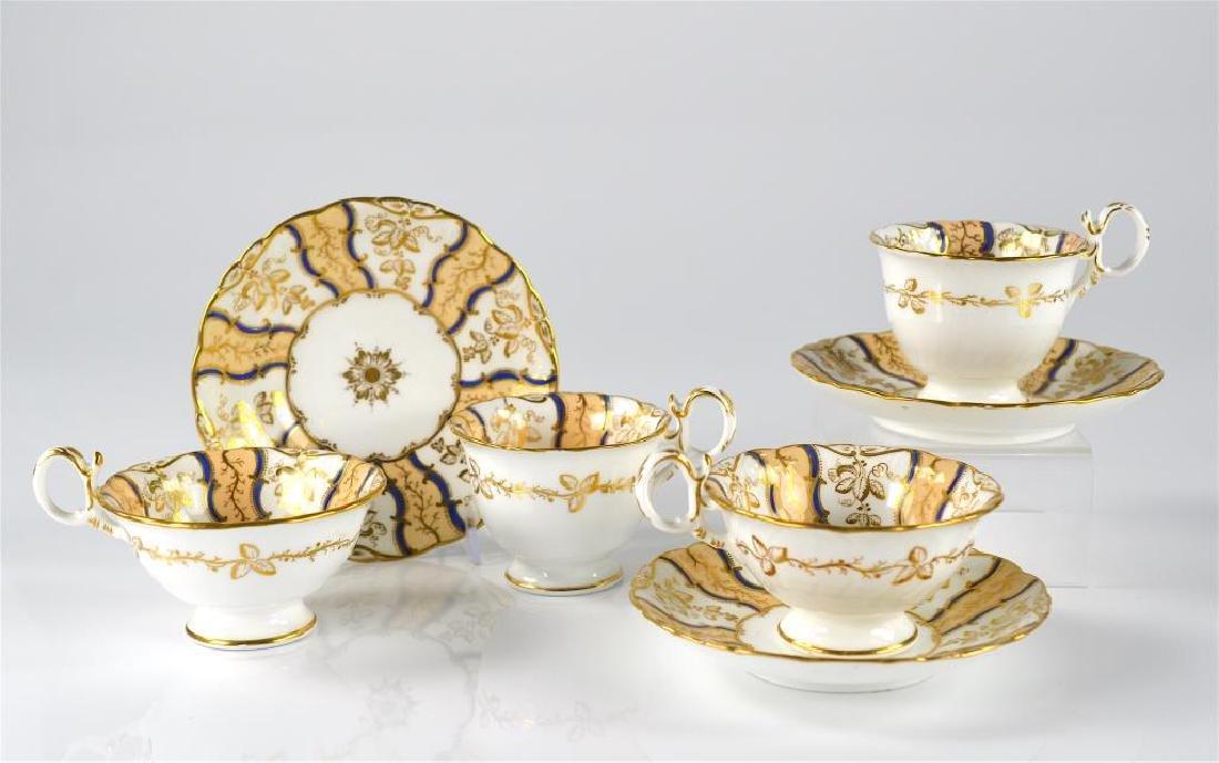 Eight 19th C English porcelain trios