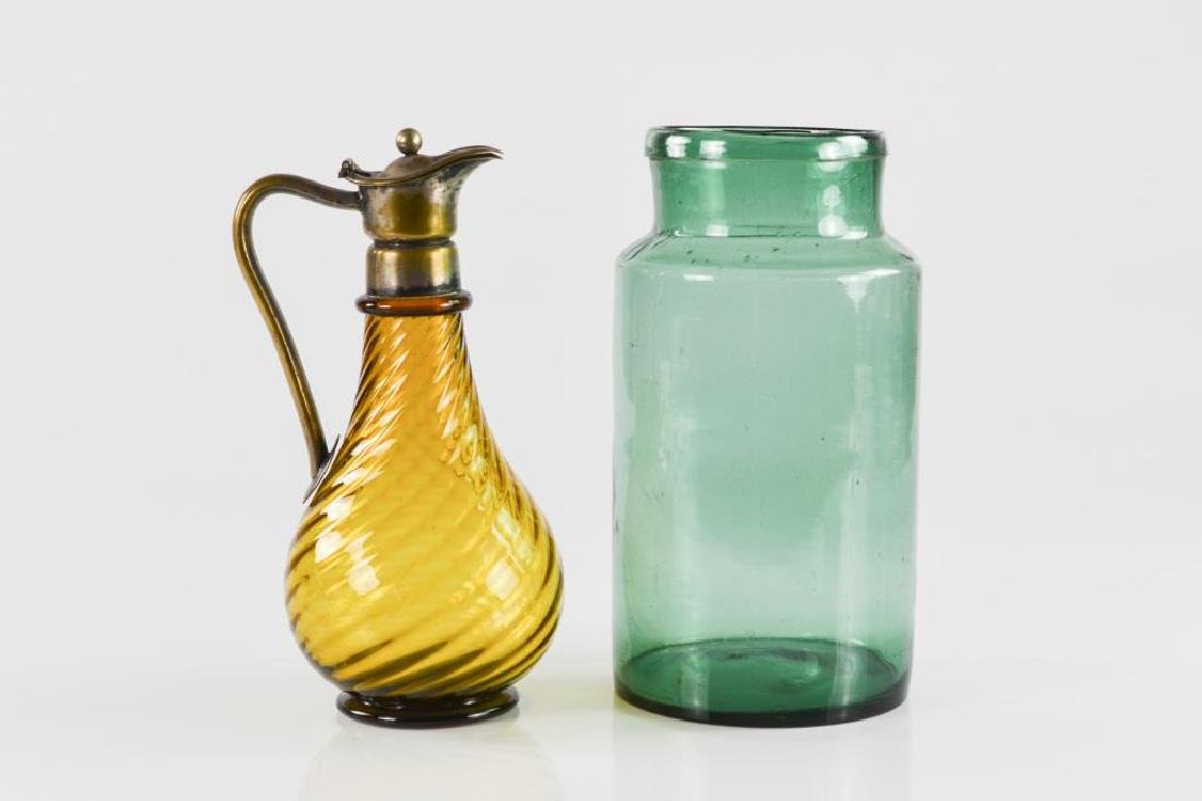 Two pieces of Antique coloured glass