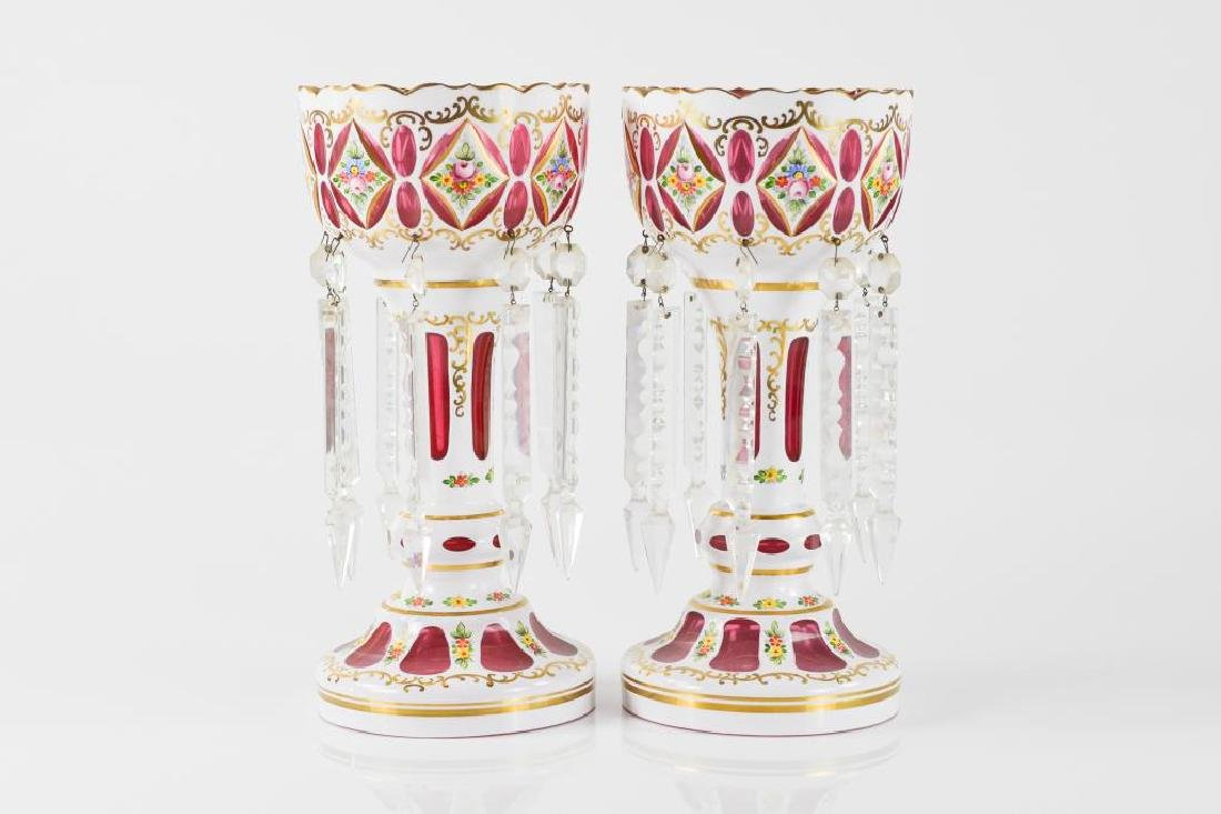 Pair of Bohemian cased cranberry glass lusters