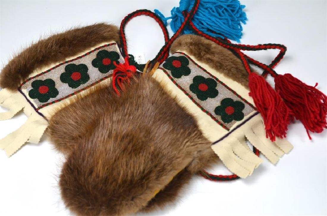 Pair of beaded & fur lined beaver mittens