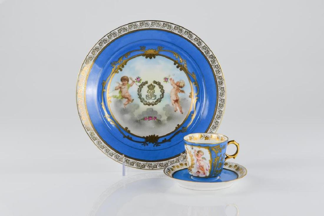 Two pieces of French Sevres style porcelain