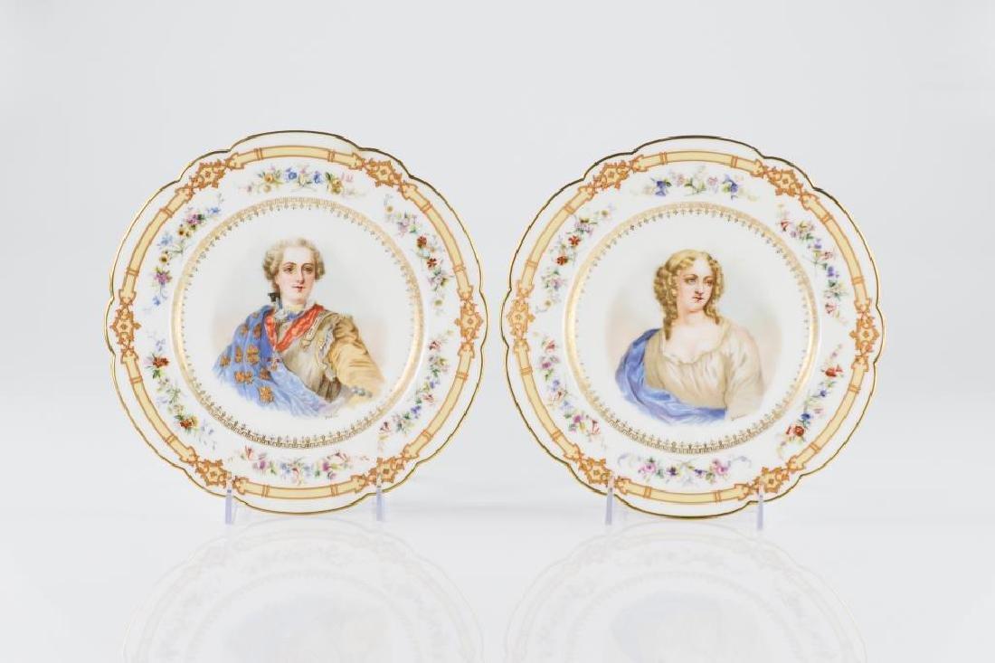 Pair of French porcelain portrait plates