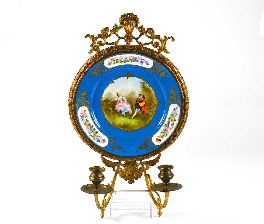 French porcelain ormolu mounted cabinet plate