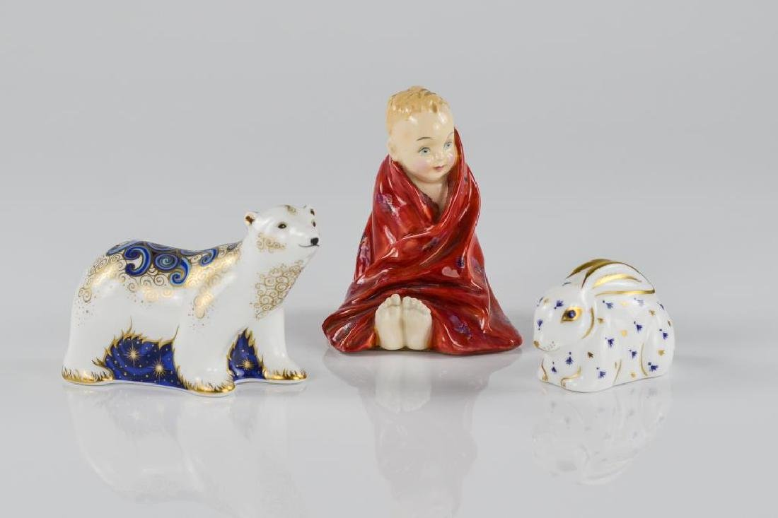 Two Royal Crown Derby figures with a Royal Doulton