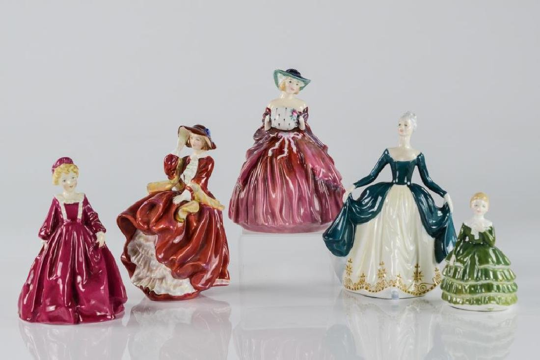 Four Royal Doulton figures w/ a Royal Worcester