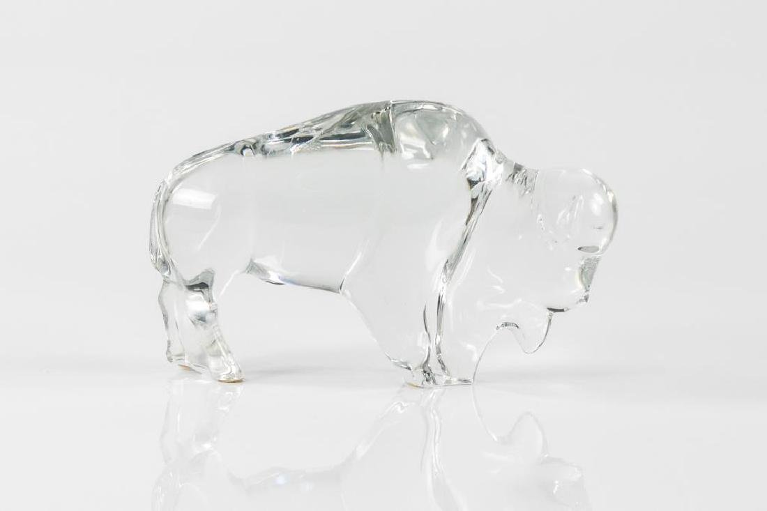 Baccarat glass buffalo figure