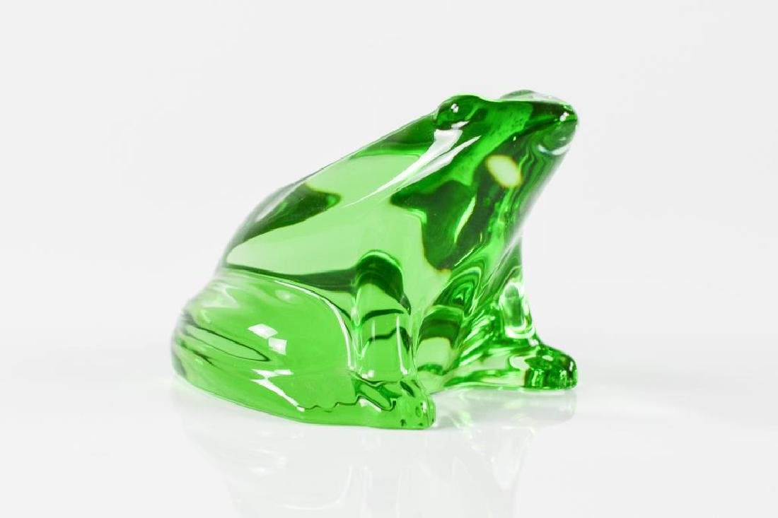 Baccarat green glass frog paperweight
