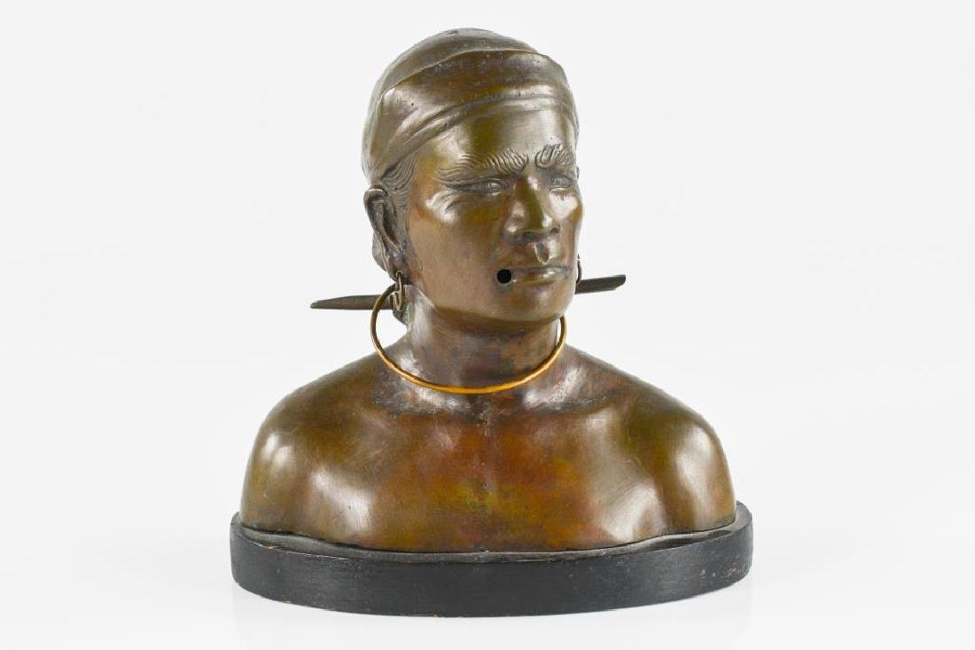 Decorative bronze patinated metal of a male