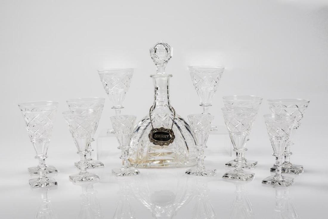 Assorted antique cut glass stemware with decanter