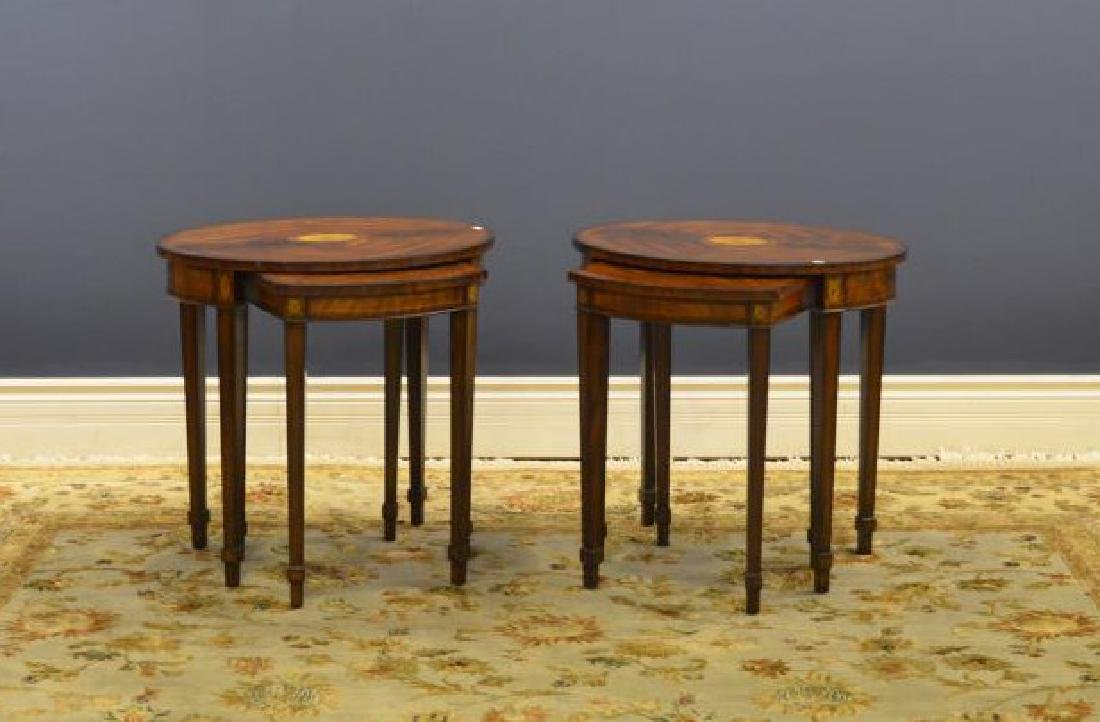 Pair of inlaid nesting tables