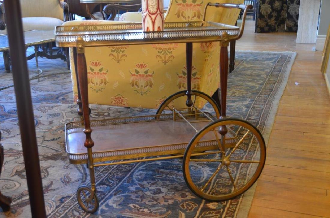 Retro mahogany and brass mirrored bar cart