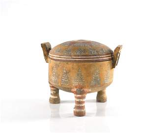 CHINESE HAN DYNASTY POTTERY PAINTED COVERED CENSER