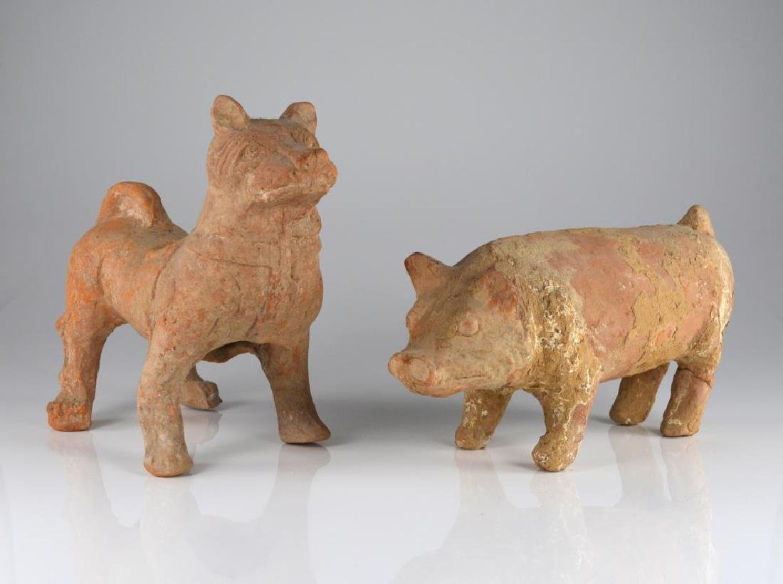 TWO CHINESE HAN POTTERY ANIMAL SCULPTURES
