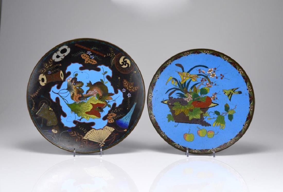 TWO JAPANESE CLOISONNE ENAMELLED PLATES