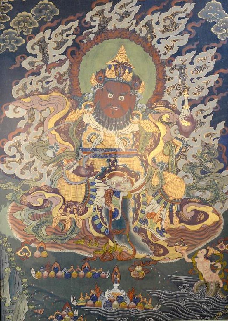 CHINESE TIBETAN THANGKA OF KUBERA VAISRAVANA