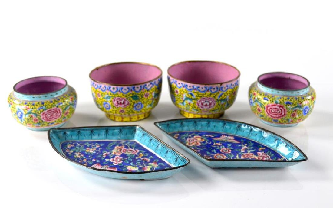 SIX CHINESE CANTON ENAMEL CUPS AND DISHES