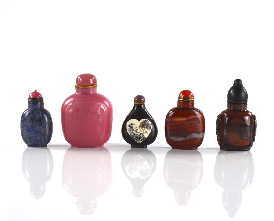 FIVE CHINESE CARVED SNUFF BOTTLES