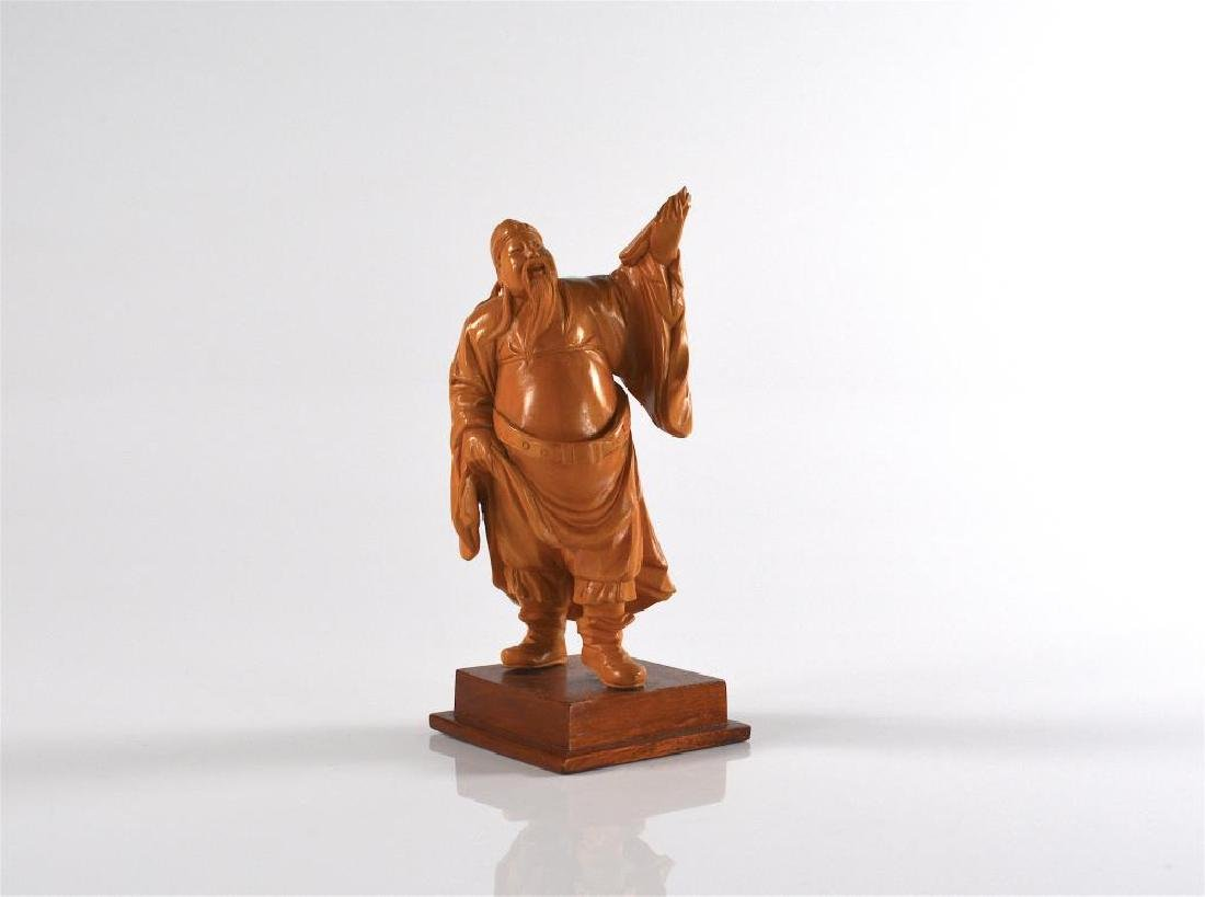 CHINESE BOXWOOD CARVED SCHOLAR FIGURE