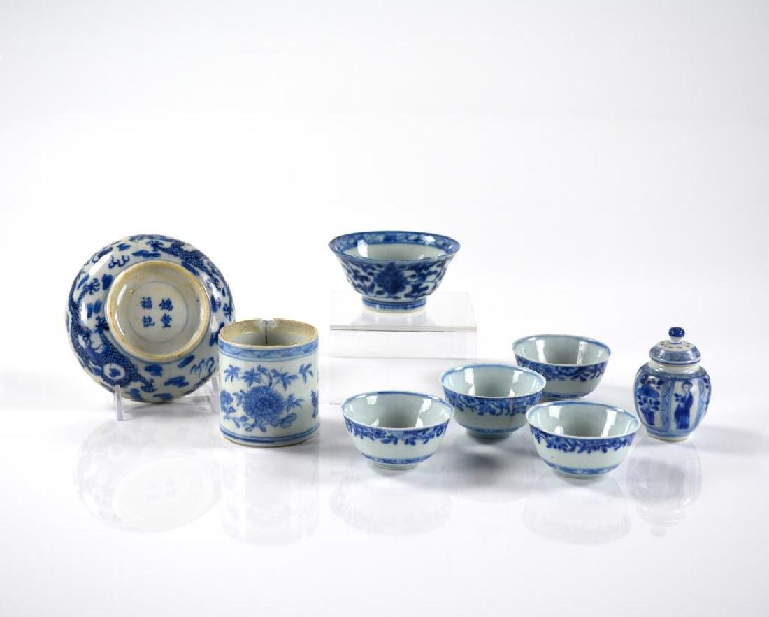 GROUP OF CHINESE BLUE & WHITE PORCELAIN ITEMS