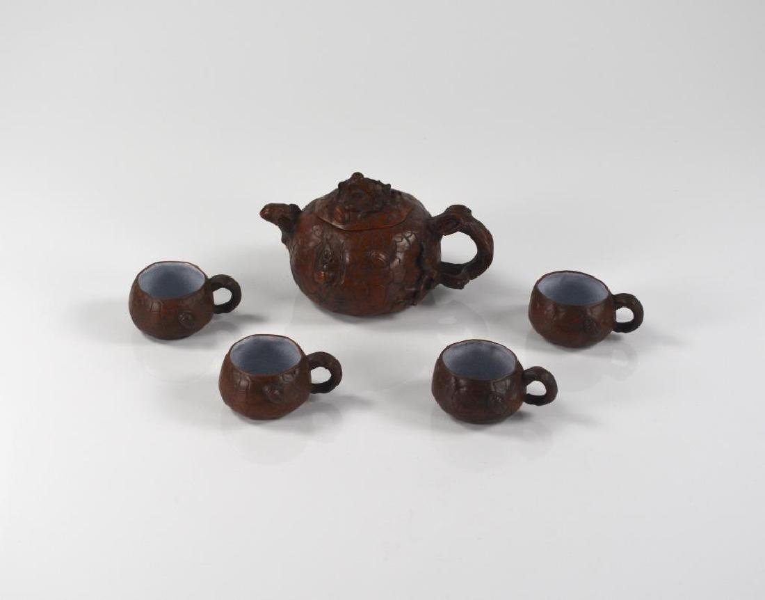 CHINESE YIXING POTTERY TEA POT & CUPS SET