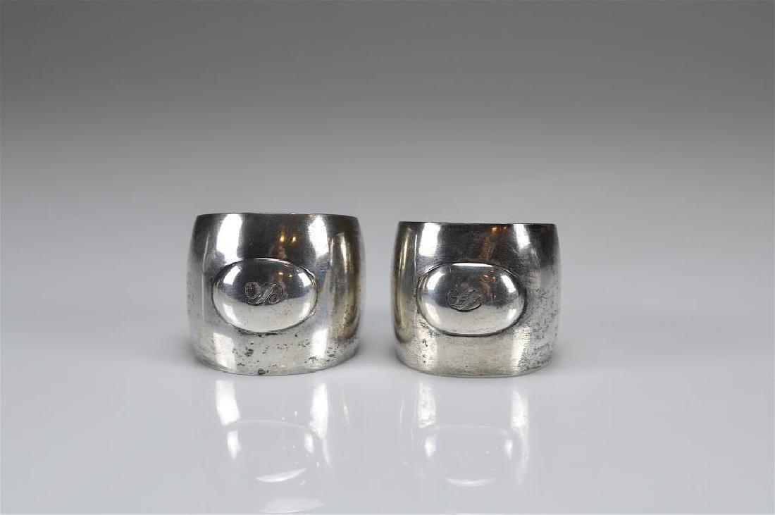 Two Josef Hoffmann silver napkin rings