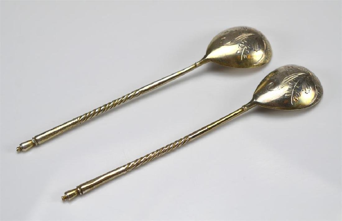 Pair of Russian silver spoons