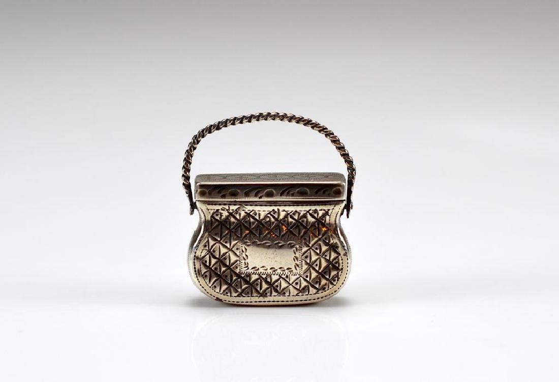 Georgian purse form silver vinaigrette