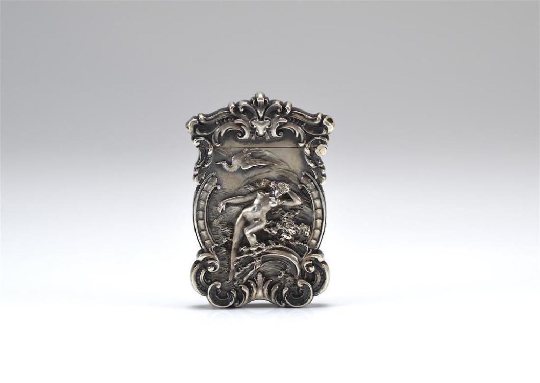 American Art Nouveau silver vesta case