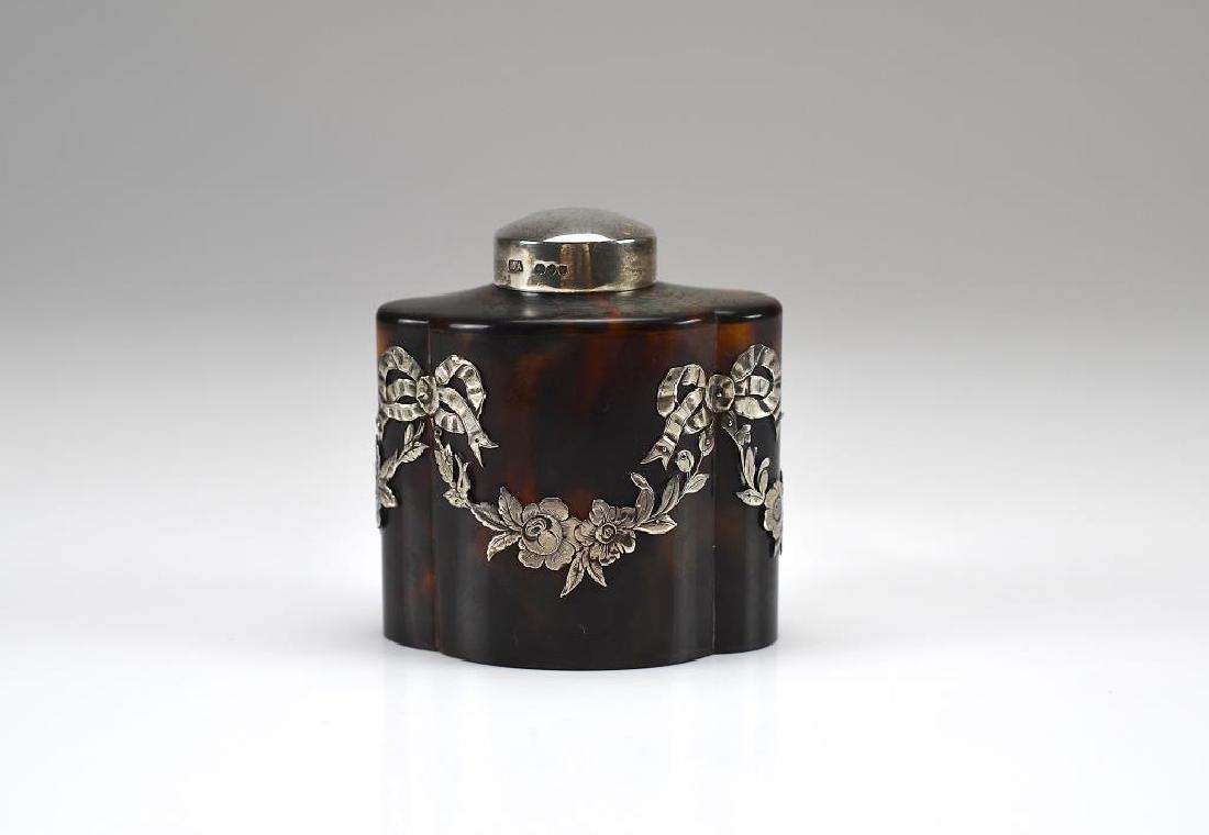 19th C tortoiseshell tea caddy w/ silver mount