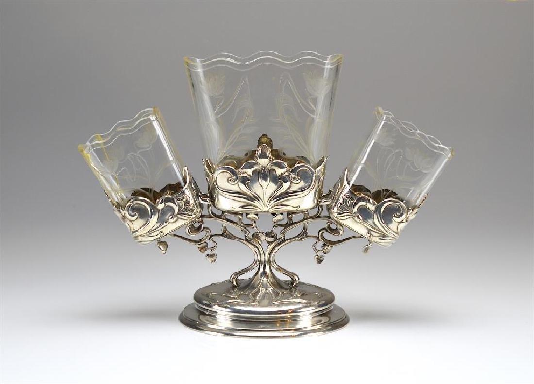 Austrian Secessionist  Art Nouveau silver epergne