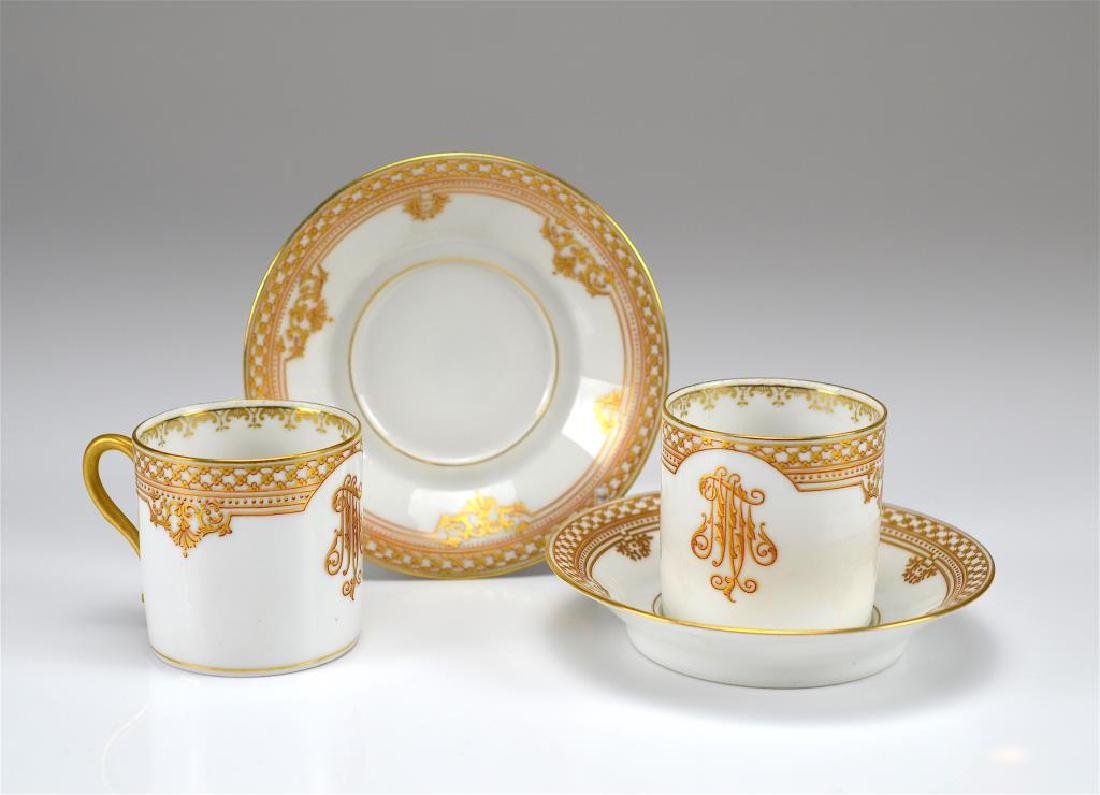 Four Russian porcelain Kornilov cups and saucers