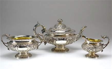 Three piece George IV Scottish silver tea set