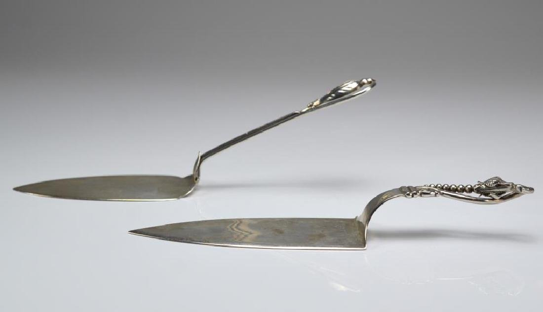 Two silver cake servers - 3