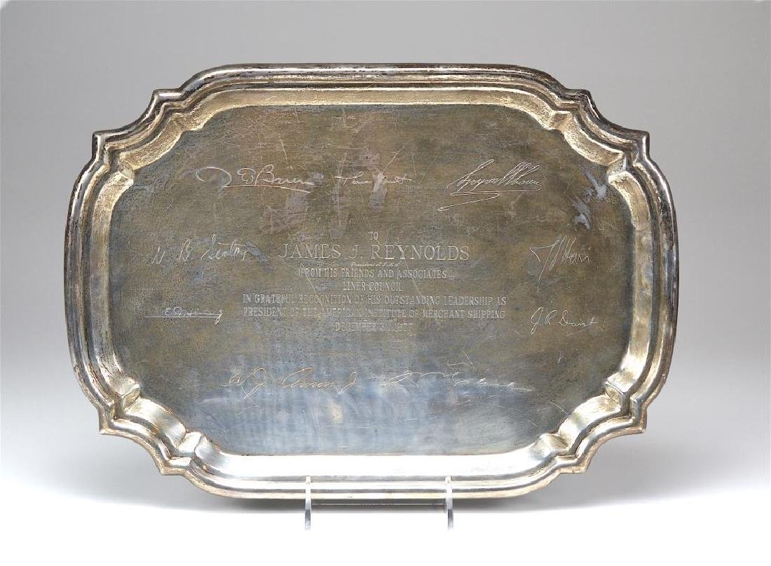 Poole Queen Anne silver presentation serving tray