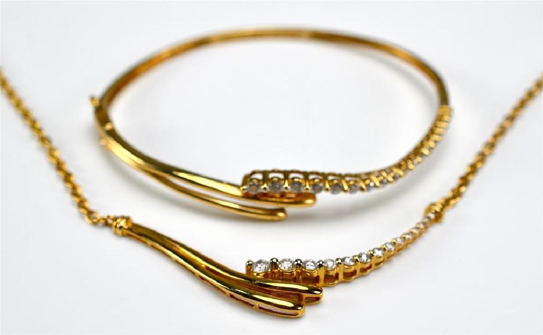 Gold & diamond spray necklace & matching bracelet