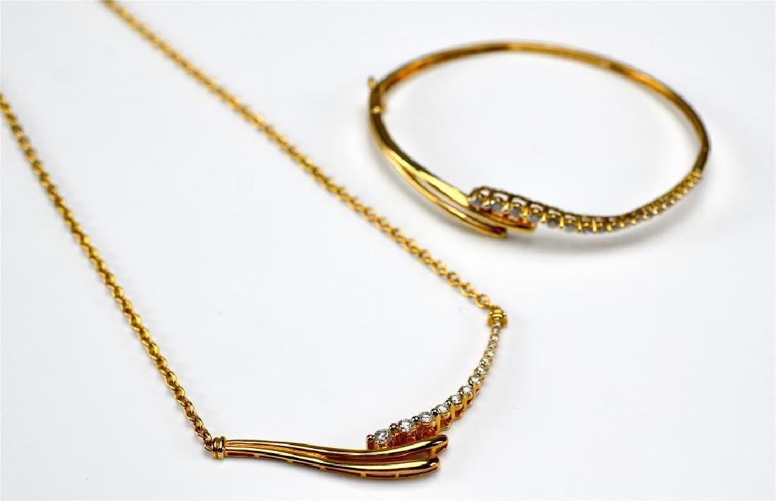 Gold & diamond spray necklace & matching bracelet - 3