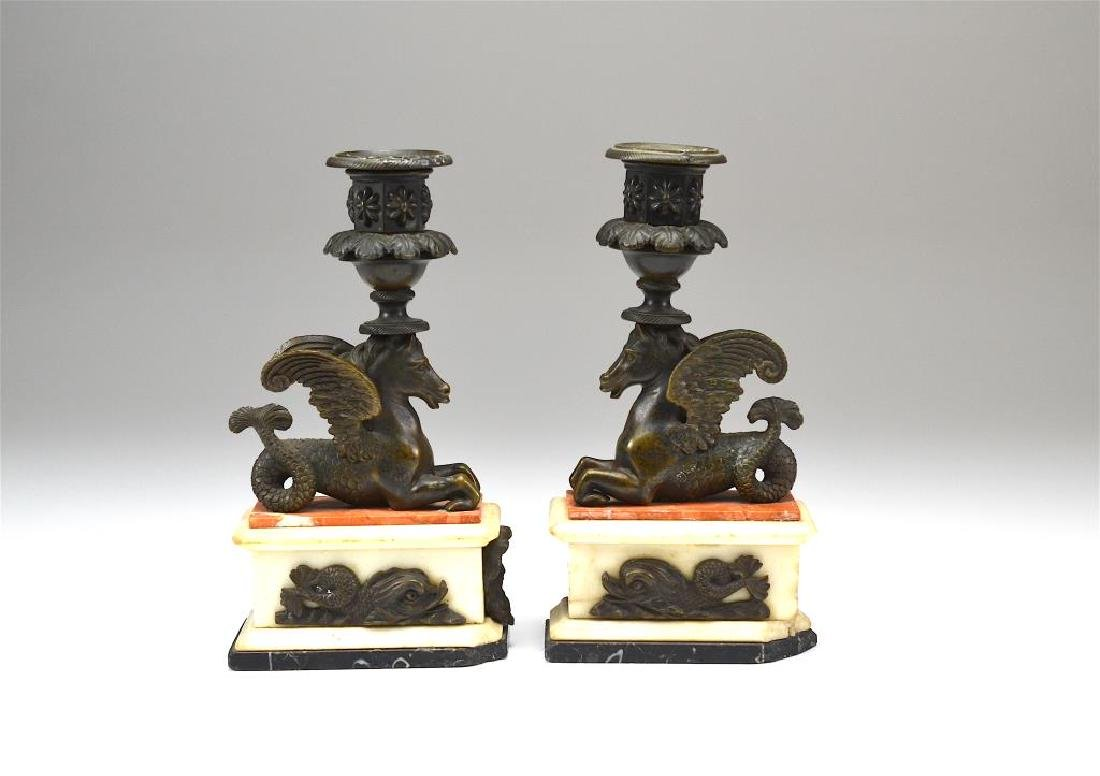 Pair of bronze & marble figural candlesticks