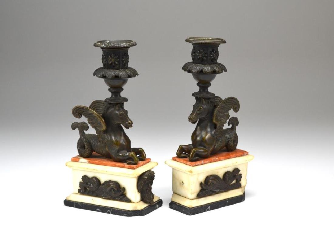 Pair of bronze & marble figural candlesticks - 3