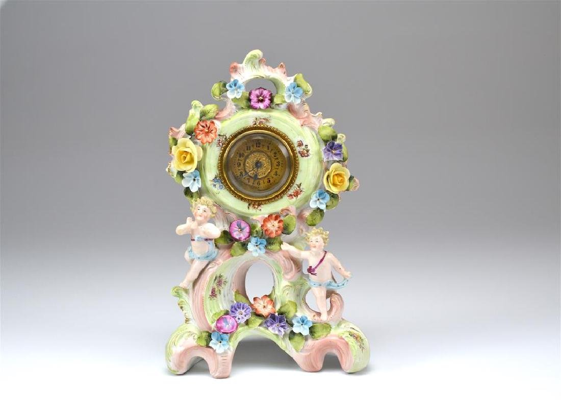 Continental porcelain mantle clock